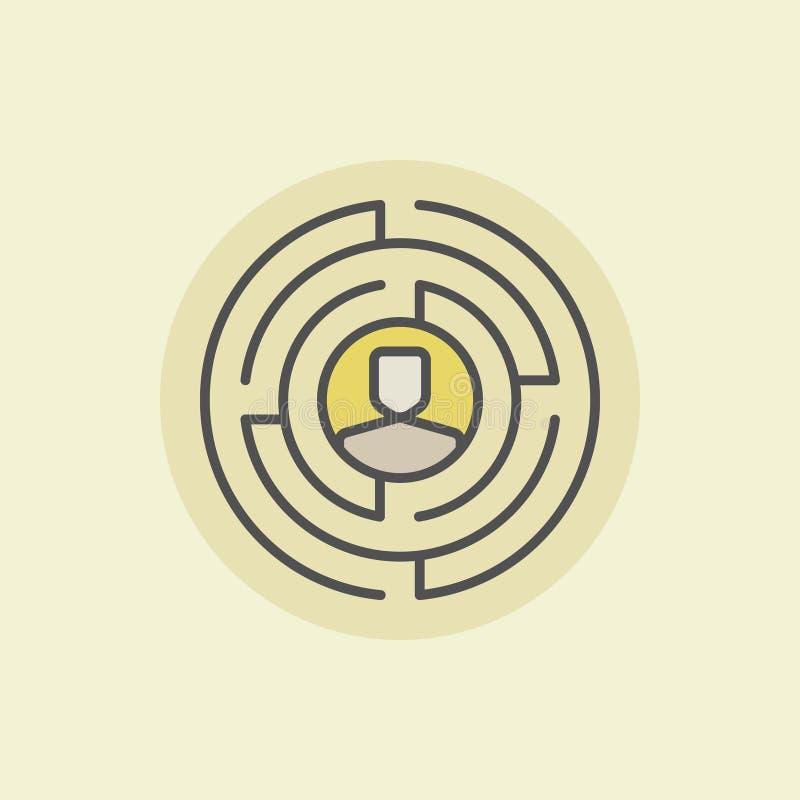 Labirinto com ícone do homem ilustração royalty free