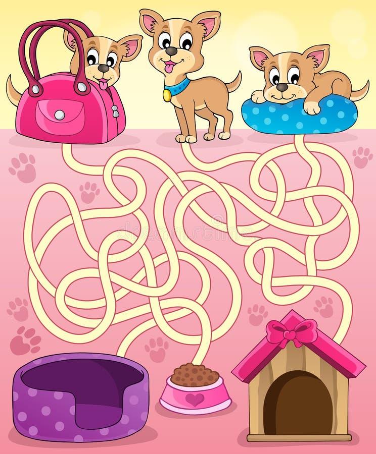Labirinto 13 com cães ilustração royalty free