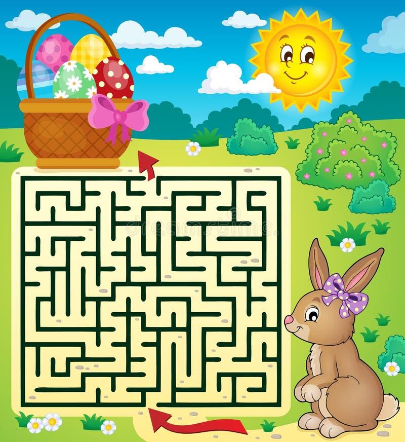 Labirinto 3 com a cesta do coelhinho da Páscoa e do ovo ilustração royalty free