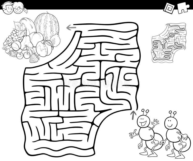 Labirinto com formigas e frutos para colorir ilustração royalty free