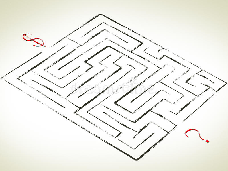 Labirinto com pergunta ilustração royalty free