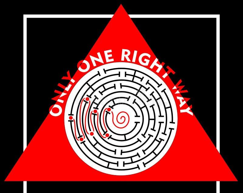 Labirinto com somente uma maneira direita ilustração do vetor