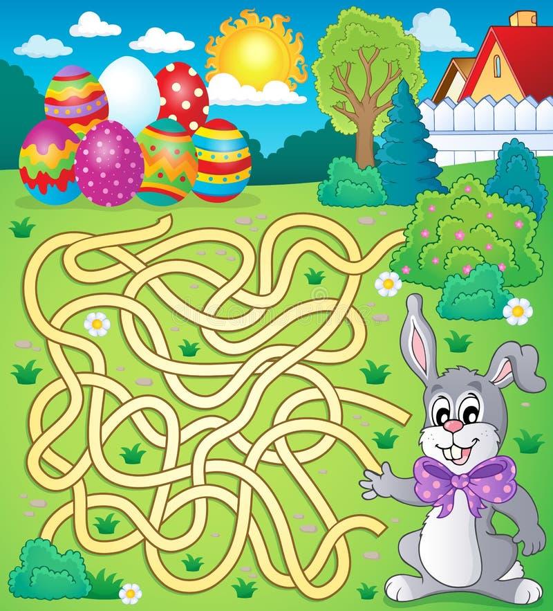 Labirinto 4 com tema da Páscoa ilustração royalty free