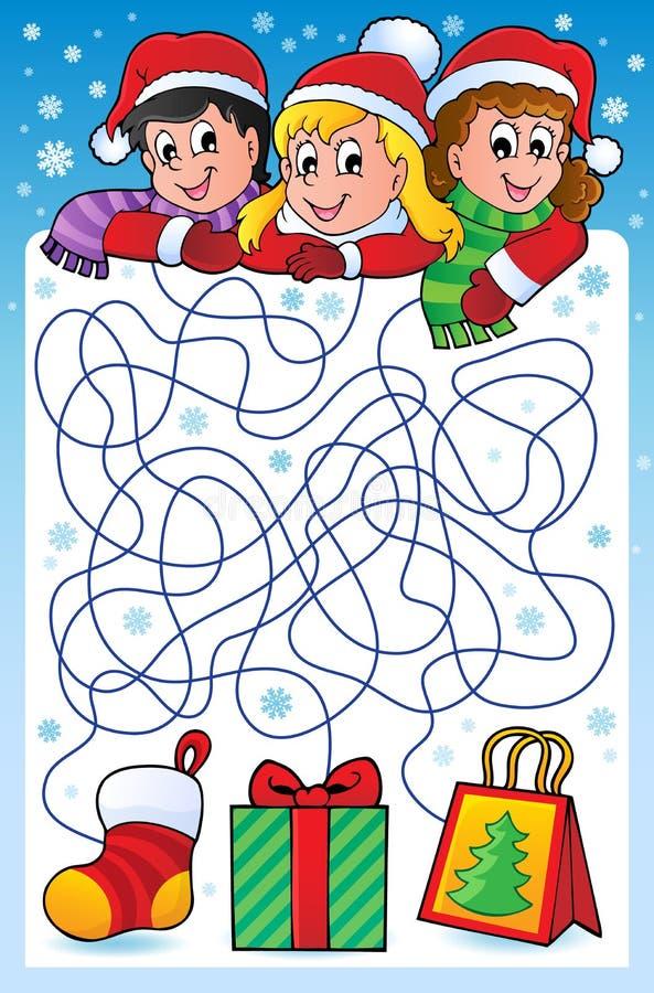 Labirinto 10 com tema do Natal ilustração royalty free