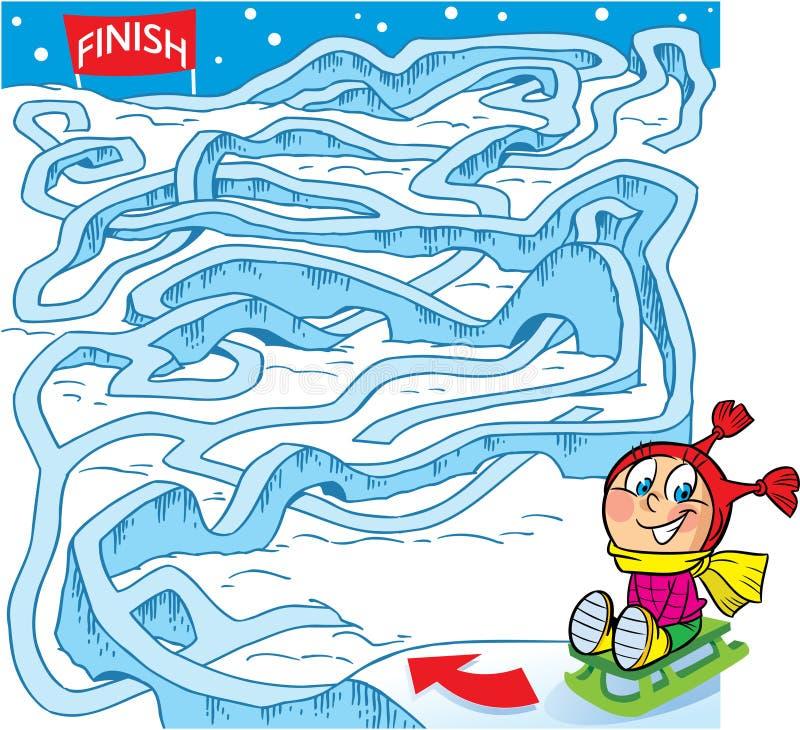 labirinto, come aiutare un bambino a arrivare rivestimento illustrazione di stock