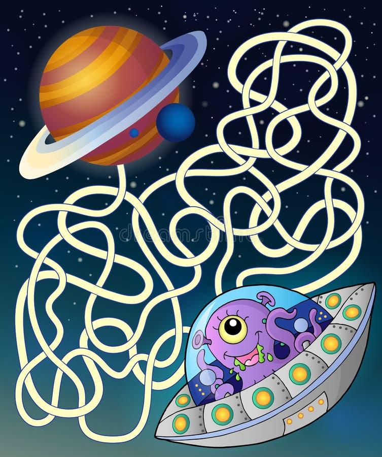 Labirinto 15 con il disco volante royalty illustrazione gratis
