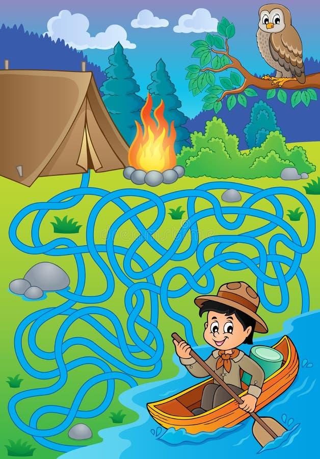 Labirinto 27 con il ragazzo dell'esploratore dell'acqua royalty illustrazione gratis