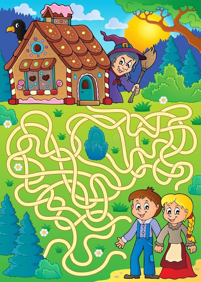Labirinto 30 con il tema di Gretel e di Hansel illustrazione di stock