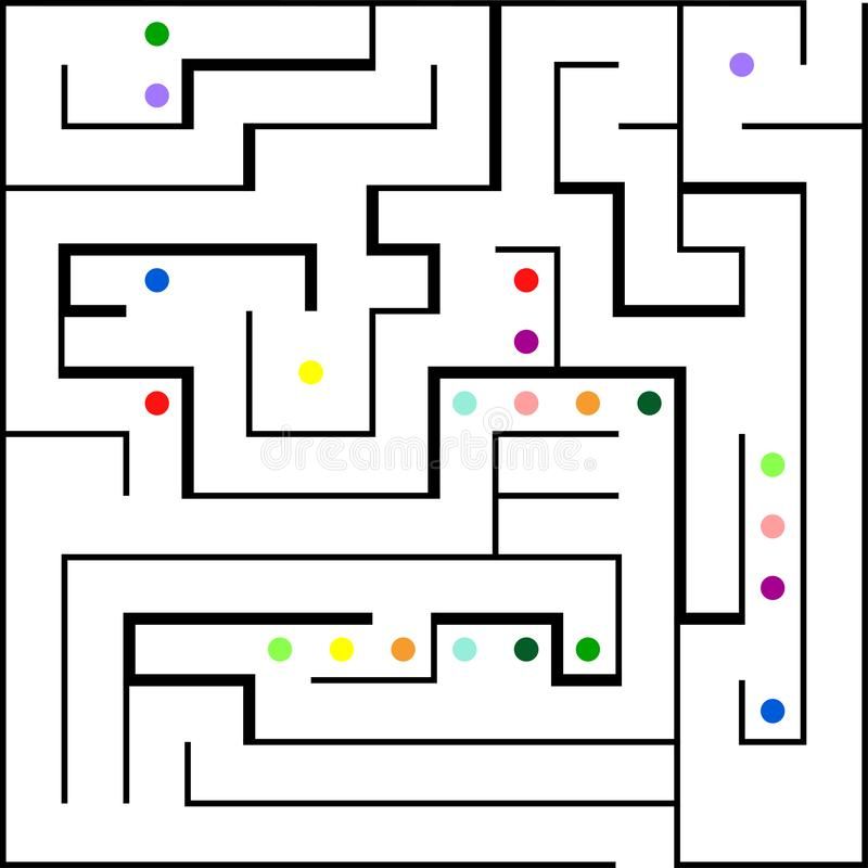 Labirinto con l'entrata e l'uscita Linea gioco del labirinto royalty illustrazione gratis