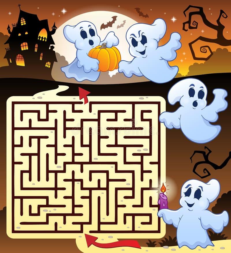 Labirinto 3 con le tematiche di Halloween illustrazione di stock
