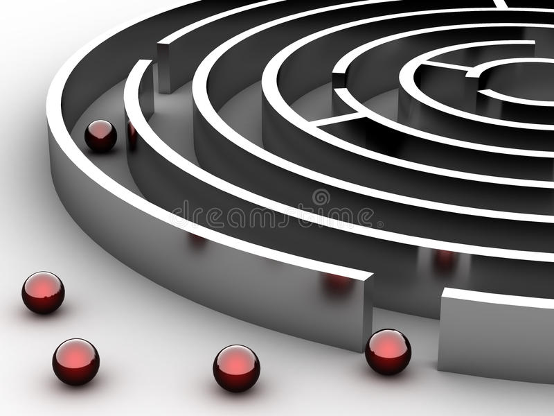 labirinto 3D circular de aço ilustração royalty free