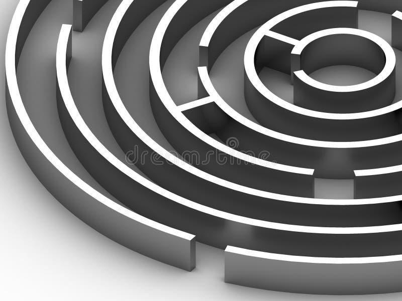 labirinto 3D circular de aço ilustração do vetor