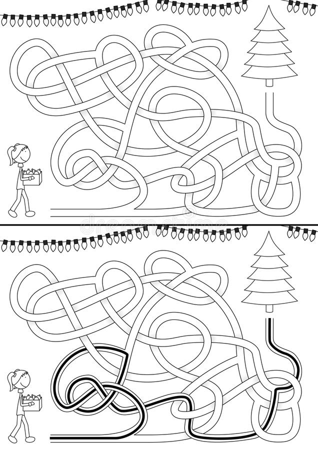 Labirinto da árvore de Natal ilustração royalty free
