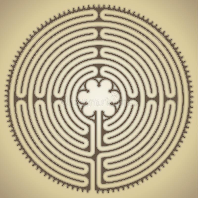 Labirinto da catedral de Chartres, França ilustração royalty free