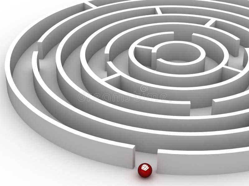labirinto da circular 3D ilustração stock