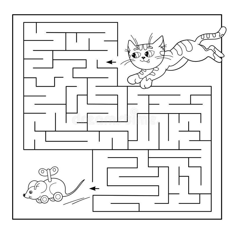 Labirinto da educação ou jogo do labirinto para crianças prées-escolar Enigma Esboço da página da coloração do gato com rato do b ilustração stock