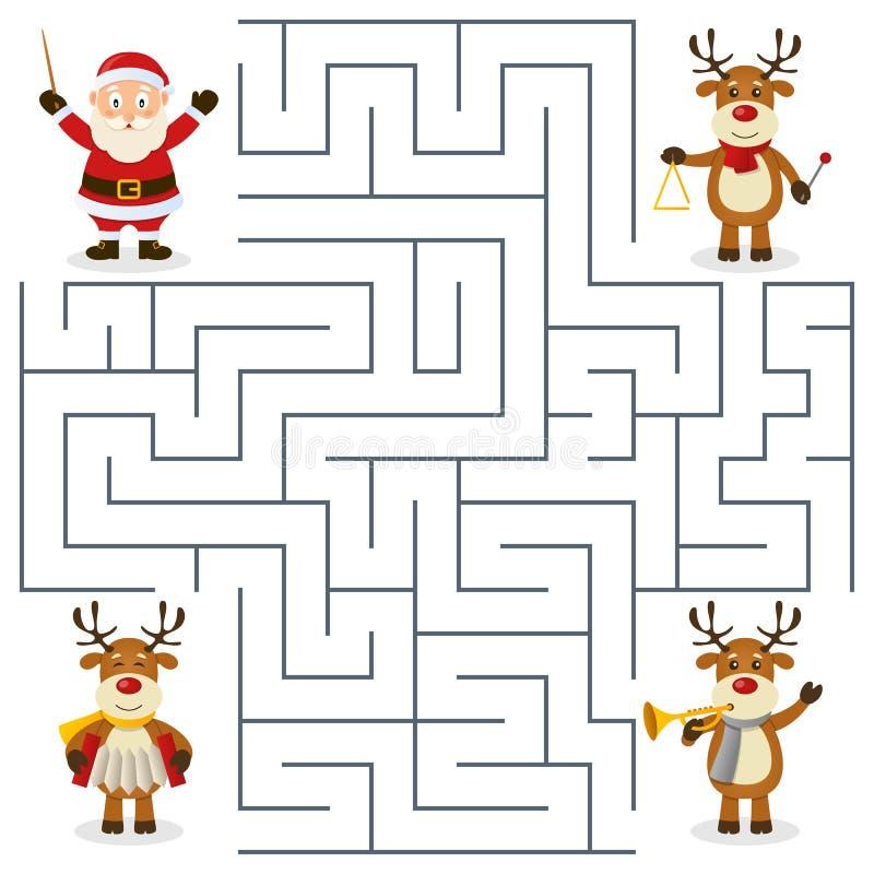 Labirinto da orquestra da rena para crianças ilustração royalty free