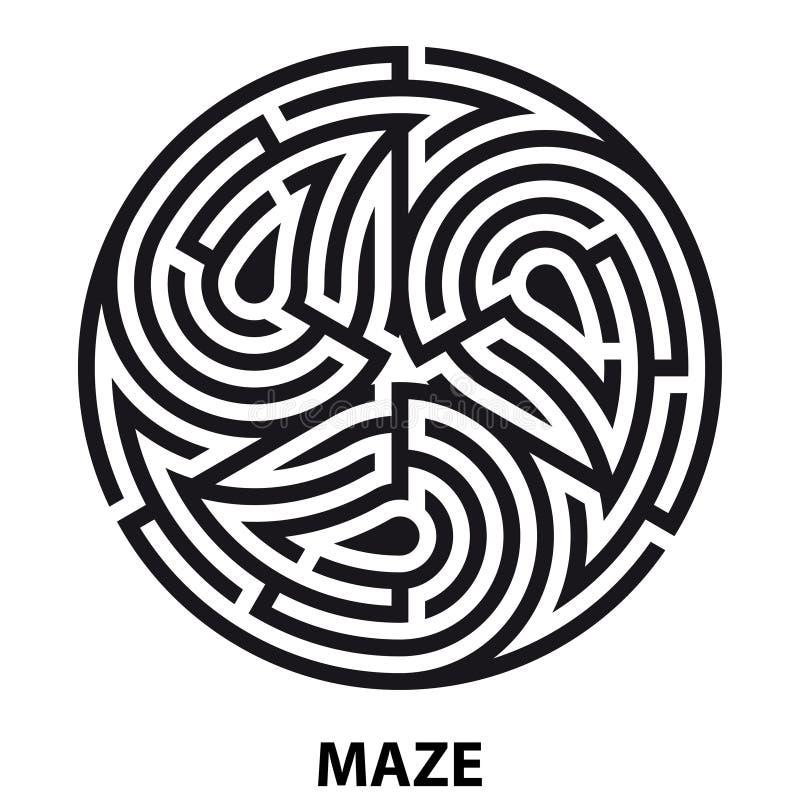Labirinto da tatuagem do símbolo de Triskelion Labirinto circular geométrico ilustração stock