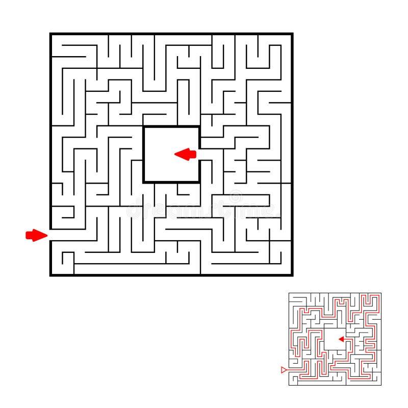 Labirinto das crianças Jogo para miúdos Enigma das crianças  ilustração stock