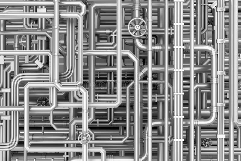 Labirinto das tubulações do metal ilustração stock