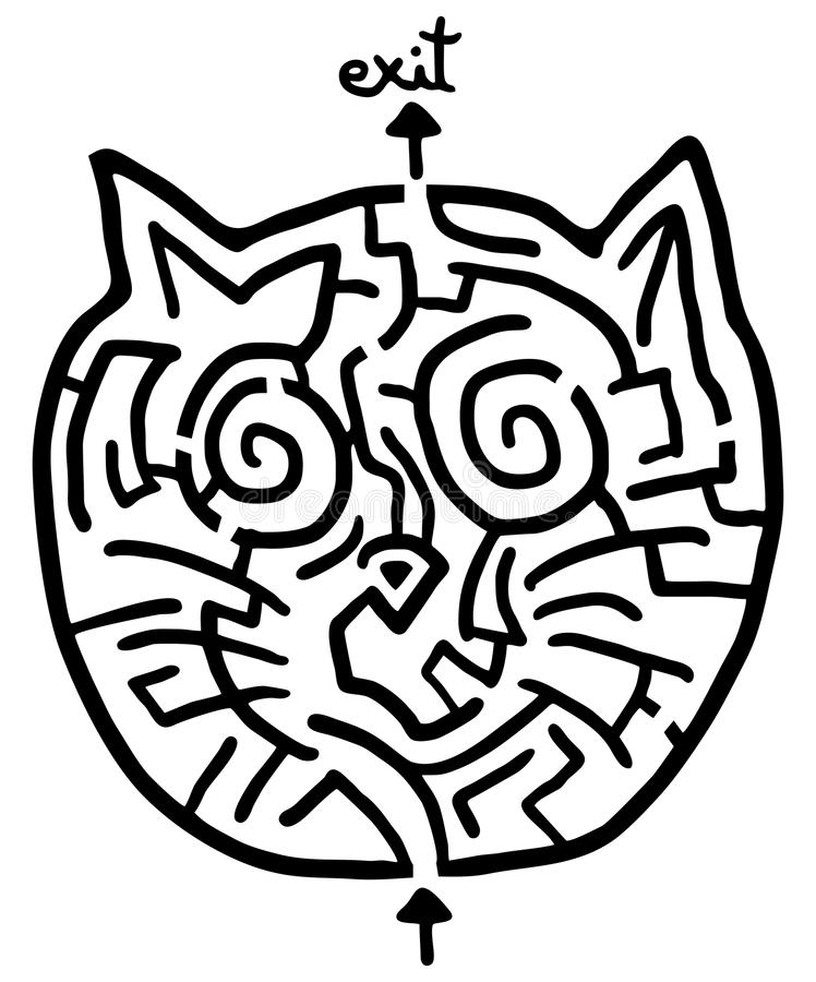 Labirinto del gatto illustrazione vettoriale
