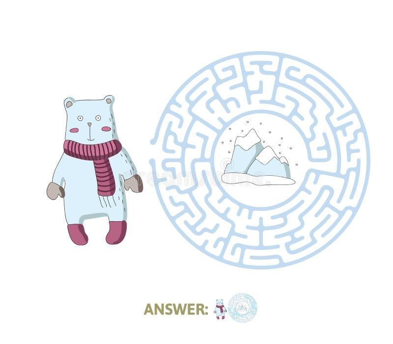 Labirinto del ` s dei bambini con l'orso polare ed il polo nord Imbarazzi il gioco per i bambini, illustrazione del labirinto di  illustrazione vettoriale