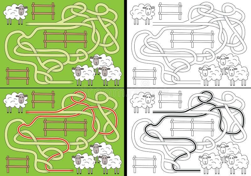 Labirinto delle pecore illustrazione di stock