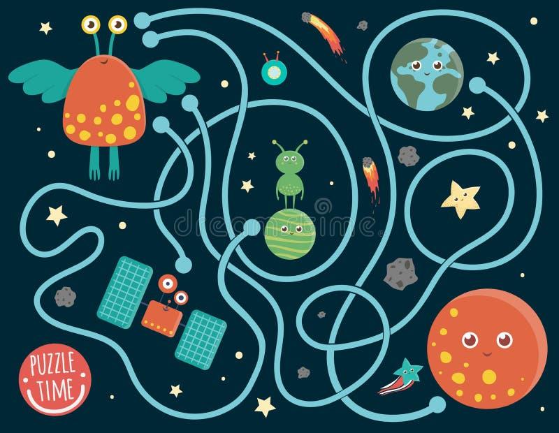 Labirinto dello spazio per i bambini illustrazione di stock