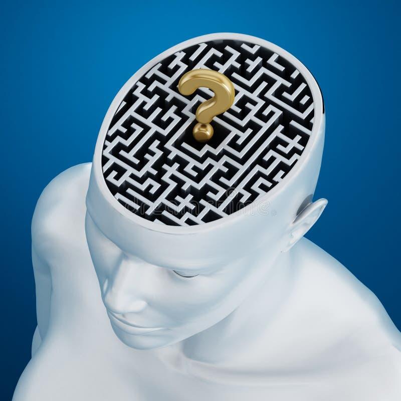 Labirinto dentro da cabeça humana ilustração royalty free