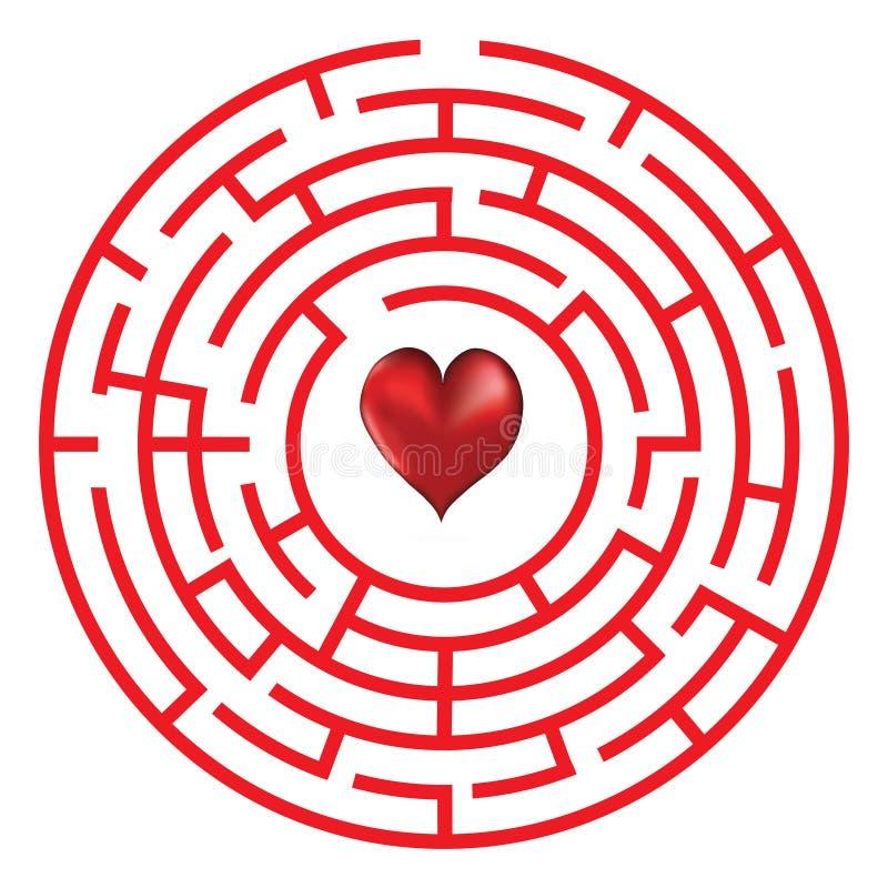 Labirinto di concetto di amore con cuore illustrazione vettoriale