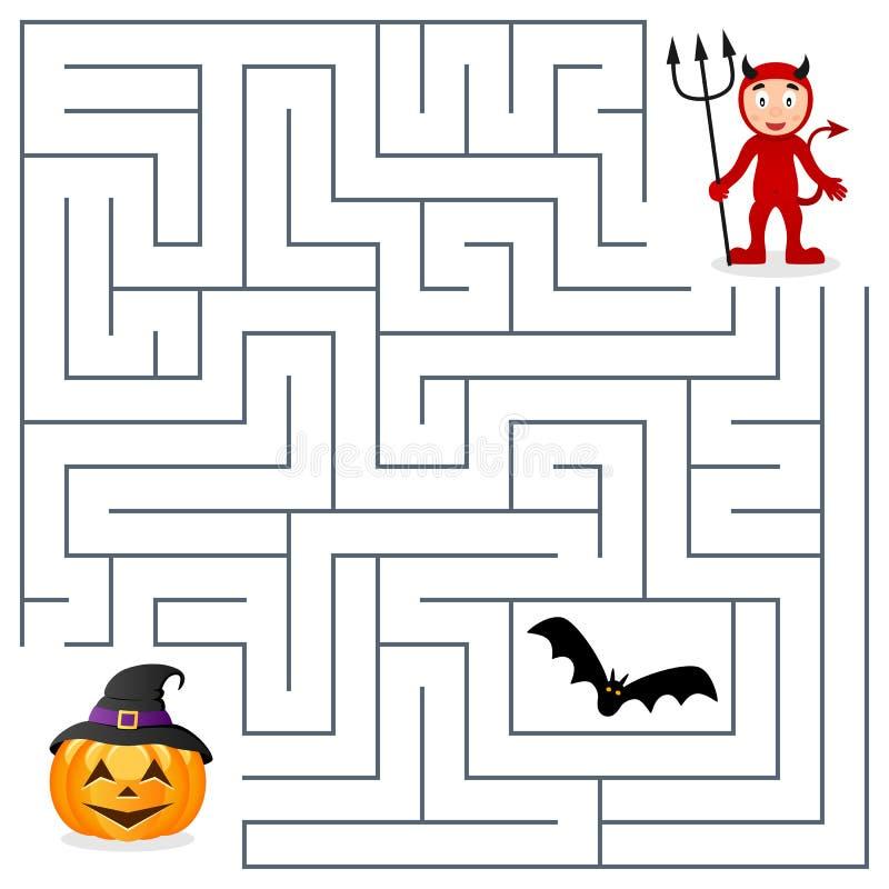 Labirinto di Halloween - diavolo rosso e zucca illustrazione vettoriale