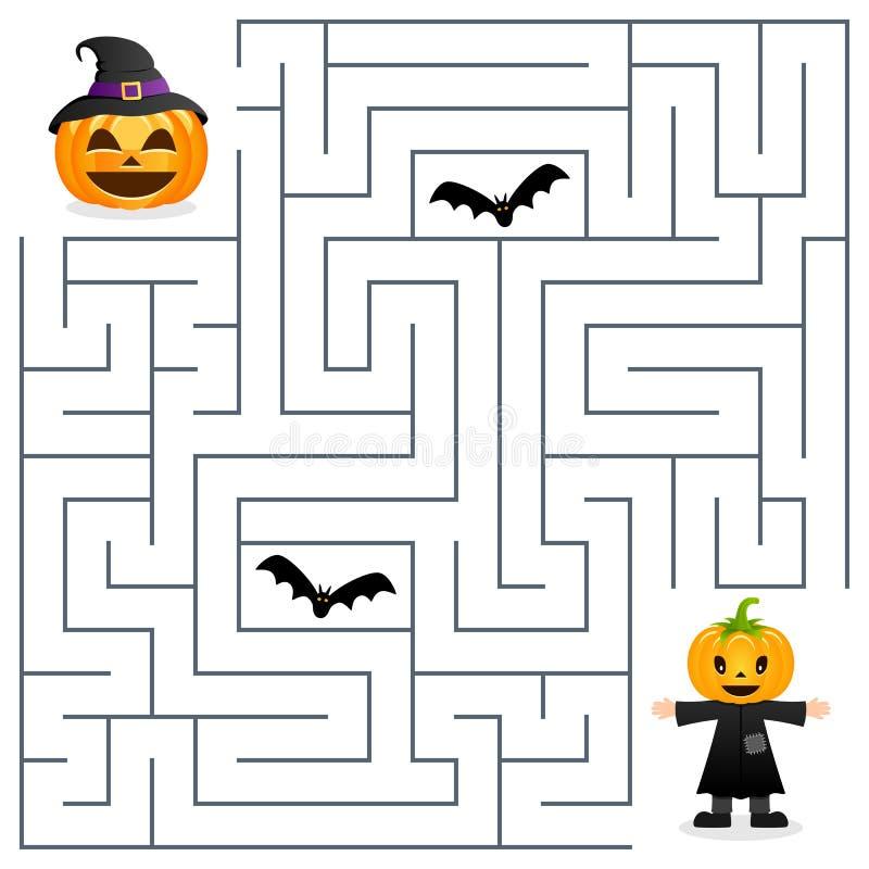 Labirinto di Halloween - spaventapasseri e zucca illustrazione di stock