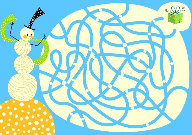 Labirinto di Labirinth del regalo del pupazzo di neve illustrazione vettoriale