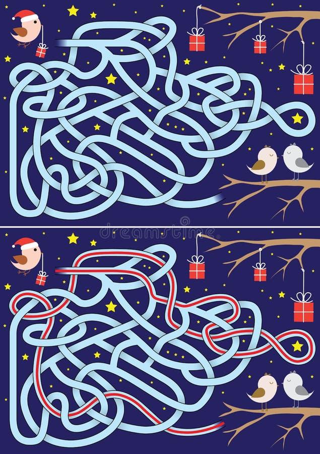 Labirinto di Natale illustrazione vettoriale