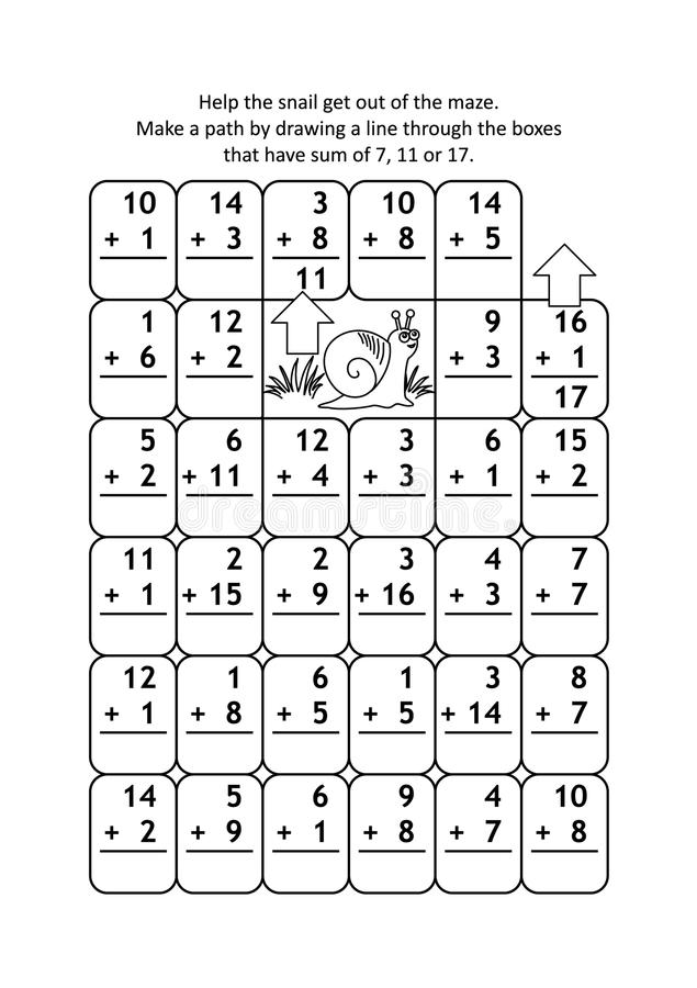 Labirinto di per la matematica con i fatti dell'aggiunta per i numeri fino ad un massimo di 20 royalty illustrazione gratis