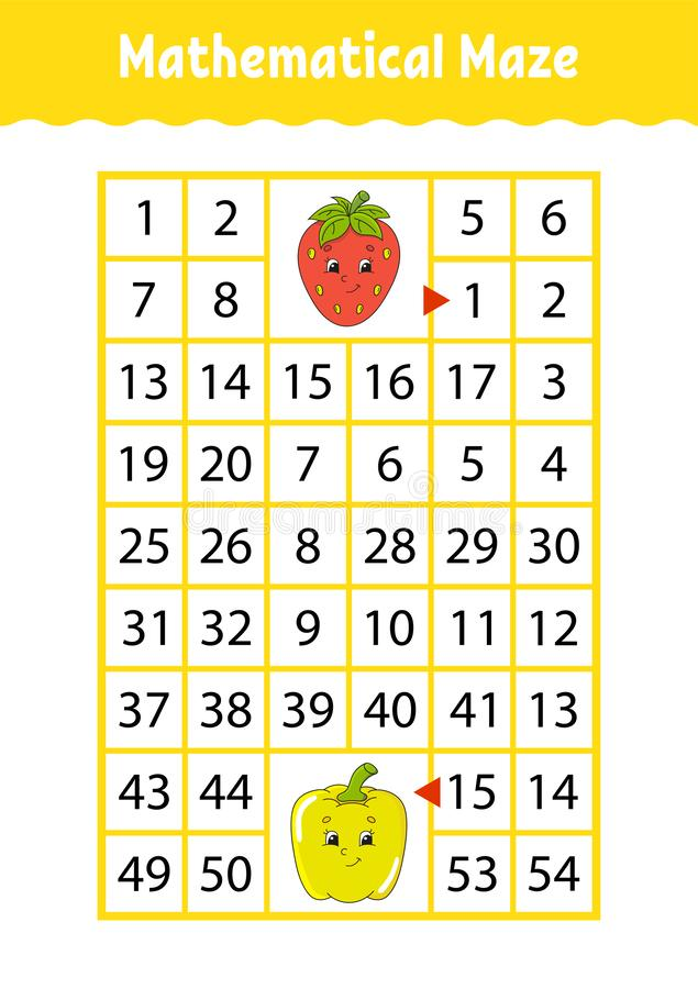 Labirinto di per la matematica Gioco per i bambini Labirinto divertente Foglio di lavoro di sviluppo di istruzione Pagina di atti royalty illustrazione gratis