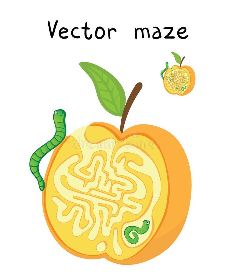 Labirinto di vettore, labirinto con Apple e vermi illustrazione di stock