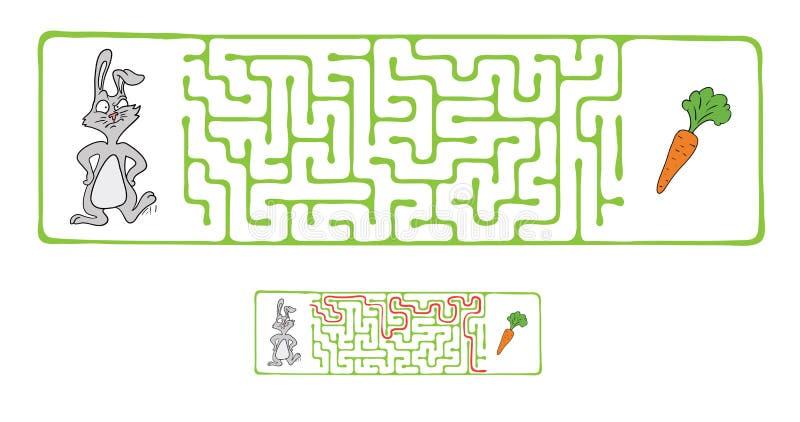 Labirinto di vettore, labirinto con coniglio e carota illustrazione di stock