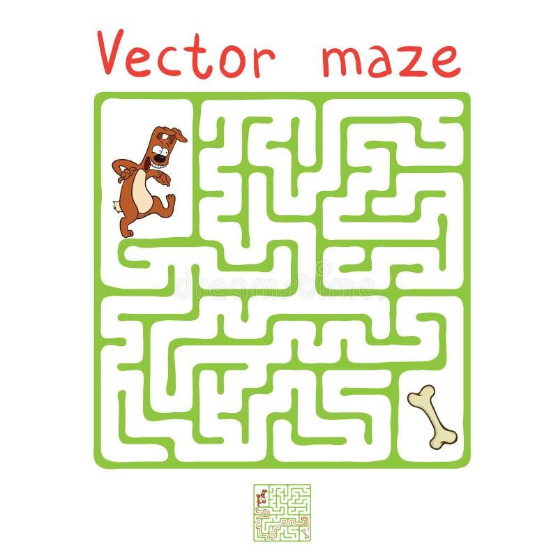 Labirinto di vettore, labirinto con il cane illustrazione di stock