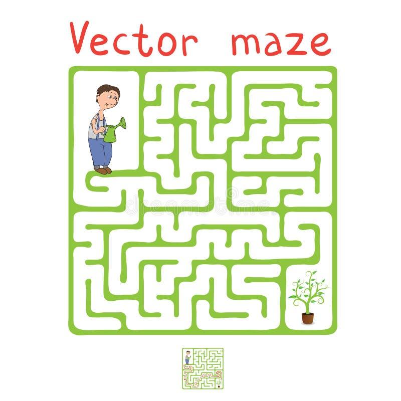 Labirinto di vettore, labirinto con il giardiniere e pianta royalty illustrazione gratis