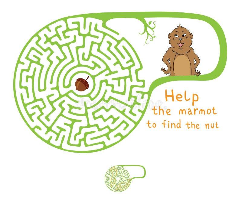 Labirinto di vettore, labirinto con la marmotta e dado royalty illustrazione gratis
