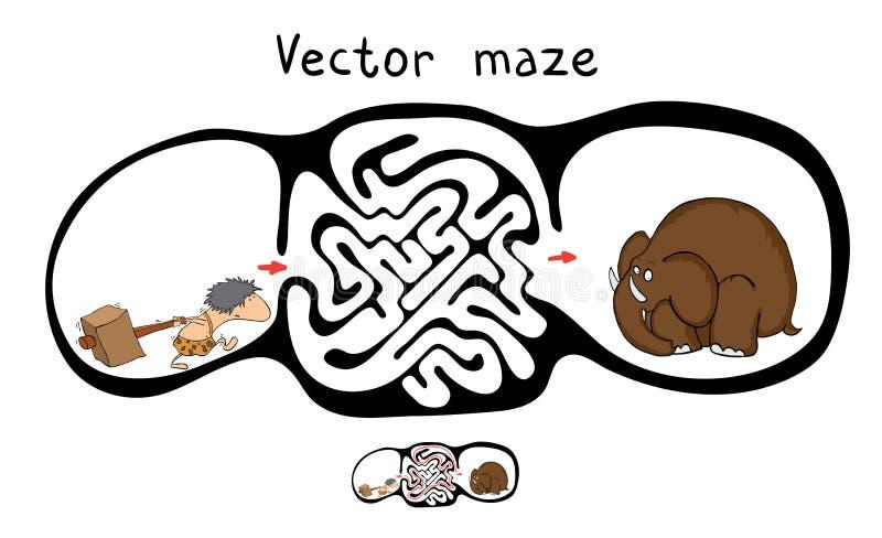 Labirinto di vettore, labirinto con la marmotta e dado illustrazione di stock