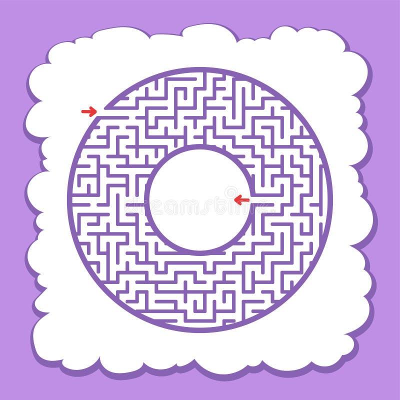 Labirinto do círculo da cor Jogo para miúdos Enigma para crianças Uma entrada, uma saída Enigma do labirinto Ilustração lisa do v ilustração stock