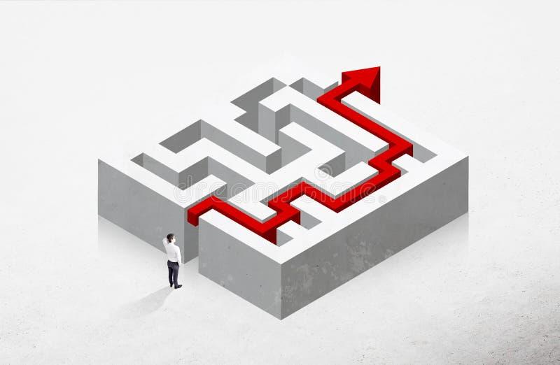 Labirinto do conceito da solução ilustração royalty free
