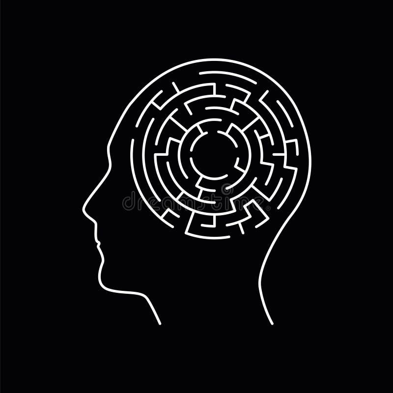 Labirinto do labirinto dentro da cabeça humana, conceito da memória ilustração royalty free