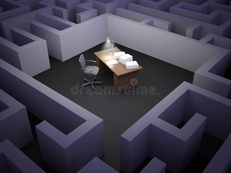 Labirinto do escritório ilustração royalty free