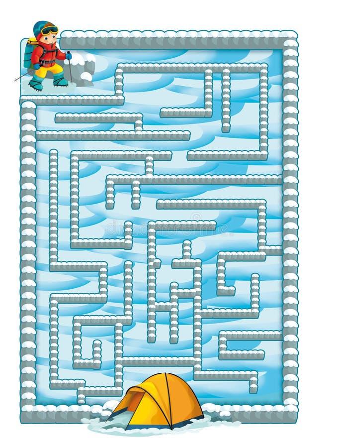 Labirinto do inverno dos desenhos animados ilustração royalty free