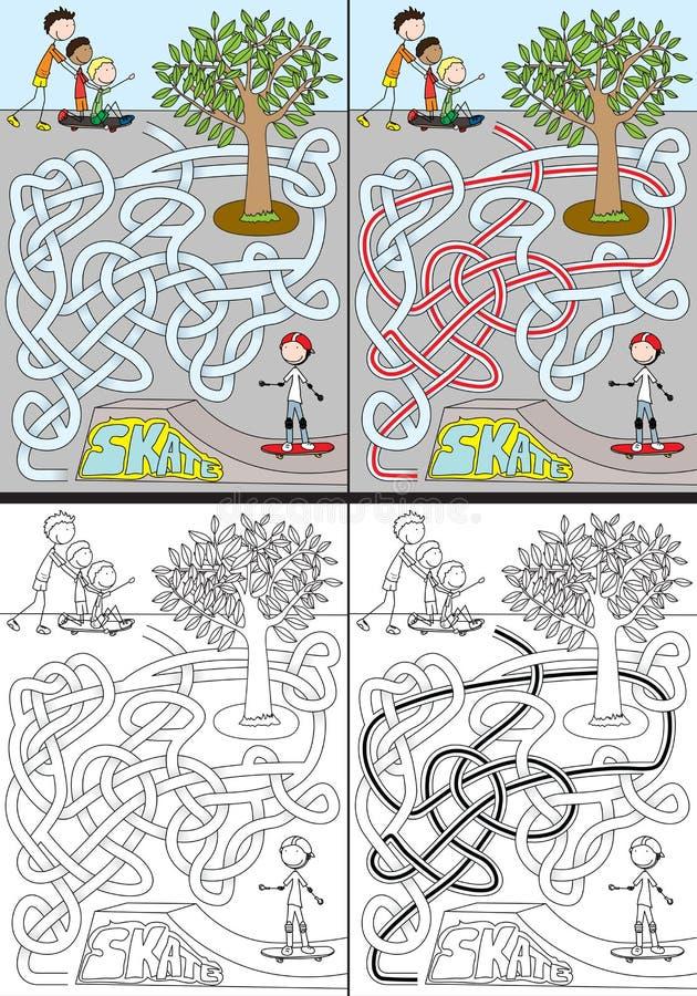 Labirinto do parque do patim ilustração stock