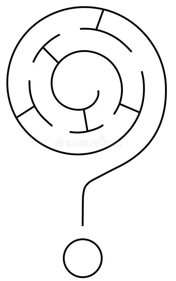Labirinto do ponto de interrogação ilustração stock