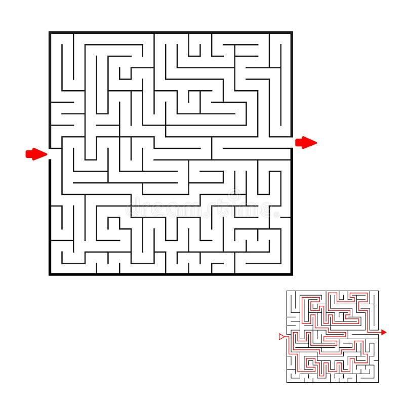 Labirinto do preto do quadrado no fundo branco Labirinto das crianças Jogo para miúdos Enigma das crianças Ajuda para encontrar u ilustração stock